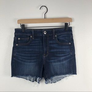 American eagle dark wash raw hem denim shorts 8